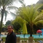 A hotel  belső kertjében