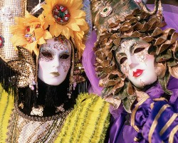 February 1995, Venice, Italy --- A costumed people at the Carnivale in Venice. --- Image by © John Slater/CORBIS